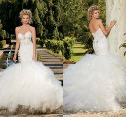 Discount sweetheart tier mermaid wedding dress - 2017 Eve Of Milady Arab Lace Crystals Mermaid Wedding Dresses Sweetheart Tulle Tiers Wedding Gowns Luxurious Bridal Dresses