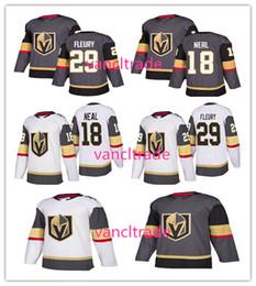 Wholesale White Sport Jerseys - 2017-18 New Style Vegas Golden Knights 18 James Neal 29 Marc-Andre Fleury Ice Hockey Jerseys Fleury Sports Uniforms Team Gray Road White