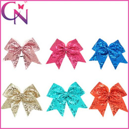 """Wholesale Girls Bows Free Shipping - Large 8"""" Baby Children Cheer Bow Solid Grosgrian Ribbon With Full Bling Bling Sequin Covered Girls Elastic Band Free Shipping"""