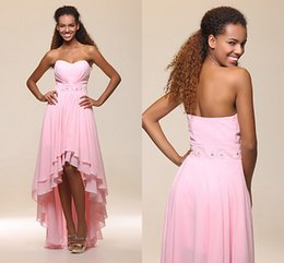 Wholesale Cheapest Pink Cocktail Dress - Cheapest!! 2016 Pink Cocktail Dresses Evening Wear Strapless Ruffles Beaded Ssah Hi-lo Chiffon Layer Sweety Junior Graduate Prom Gowns WWL