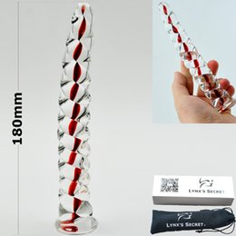 Wholesale Twist Anal Toy - 151204 Red Core Twist Pyrex Glass dildo penis Anal butt plug with box sex toys adult female male masturbation products for women men