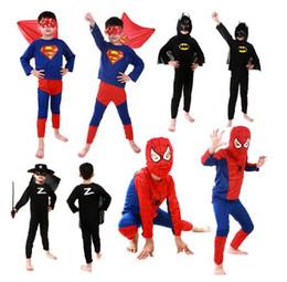 Wholesale Batman Cartoon Suits - Spiderman Superman Batman Zorro Halloween Costume Suits Kits For Kids Children superhero suits spiderman costume set long sleeve in stock