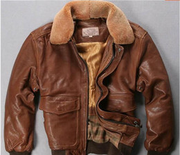 Wholesale Leather Bomber Jacket Brown Xl - yellow brown AVIREX FLY genuine leather jackets men flight bomber jacket for sale