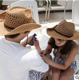 Wholesale Cowboy Cowgirl - 2015 new Free shipping!Straw sun hat cowboy men and women outdoor cap fashion cool tourist travel Halloween Western Cowgirl Cowboy beach