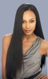 Wholesale Yaki Swiss Lace Front Wigs - African natural color & black italian yaki straight 24inch & 26inch glueless brazilian hair swiss lace front wig human hair wigs black women