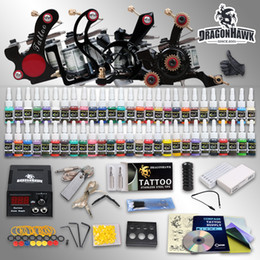 Wholesale Tattoo Supplies Tips Grips - Best Tattoo Kit 4 Machine Gun 54 Color Ink Power Supply Needles Grip Tips HW-7GD