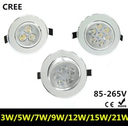 wall spot light white Promo Codes - 3W 5W 7W 9W 15W 21W AC85V-265V 110V 220V LED Ceiling Downlight Recessed LED Ceiling Light Wall lamp Spot light Spotlight With LED Driver DHL