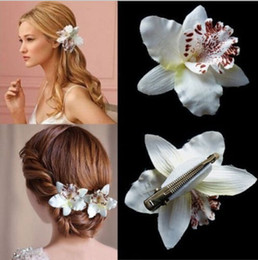 Wholesale Orchid Jewelry Wholesale - Bohemia Style Bridal Flower Orchid Leopard Hair Clip Beauty Hairpins Barrette Wedding Decoration Hair Accessories Beach Hair Jewelry