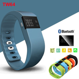 Wholesale Orange Bluetooth - TW64 Bluetooth 4.0 Fitness Activity Tracker Smart Band Wristband Pulsera Inteligente Smart Bracelet Not Fitbit Flex Fit Bit ios