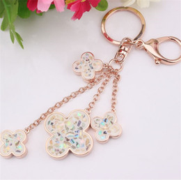 Wholesale Lucite Handbags - Fashion Keychains Gold Color Metal Keyring Dangle Clover Charms Keychains Handbag Luxury For Women Jewelry