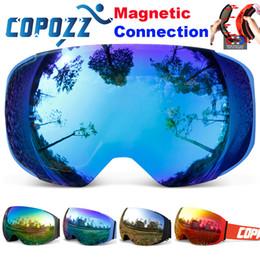 Wholesale Magnetic Goggles - COPOZZ brand ski goggles replaceable magnetic lenses UV400 anti-fog ski mask skiing men women snow snowboard goggles GOG-2181