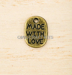 Wholesale Loving Saying - Set of 200pcs saying 'Made with Love' Zinc Alloy antiqued bronze Tone Charms pendants 11mmx8mm