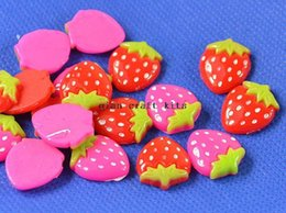 Wholesale Flatback Charms - 300pcs Strawberry resin flatback decoration, kawaii cabochon, mobile phone shell decoration, simulation fake food charm