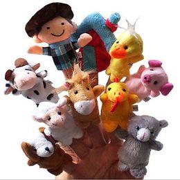 Wholesale Animals Puppets - Kids Plush toys Animal Velvet Old Macdonald Had a Farm Finger Puppets 10 piece package Plush Finger Puppets telling stories dolls learing
