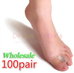 Wholesale Bunion Pain Relief - Wholesale-100 Pair Silicone gel toe spreader separator Relieve bunions overlapped Hallux Valgus Relief Pain and Correction Separator