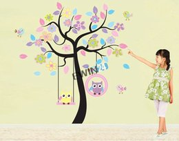 Wholesale Swing Wall Decal Stickers - New Large Colourful Owl Swing Tree Branch Wall Decals Removable Stickers decor for kids nursery 10sets
