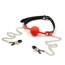 Wholesale Toys Sexual Balls - Sex Dog Slave Game Toys Silicone Mouth Ball Gag With Nipple Clamps Fetish Harness Bondage Kit bdsm Sexual Product Apertural Plug