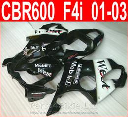 Corone di hrc online-HRC West mobil 1 bodykits nero Design per carenatura Honda CBR600 F4i 2001 2002 2003 carene CBR F4i cbr600f4i DRBI
