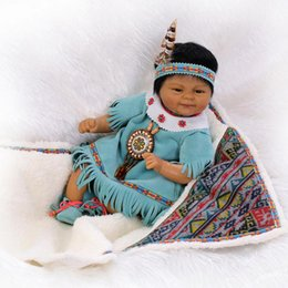 "Wholesale Silicone Women Doll - 17"" 43cm Silicone Lifelike Reborn New Baby Boy Alive Realistic Native American Indian reborn baby doll Kits Women Treats Nursery Gift"