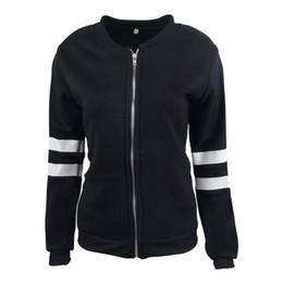 Wholesale Ladies Short Black Cotton Jackets - Lady slim zipper round neck long sleeve jacket candy strip sleeve women short close-fitting coat streetwear fashion casual overcoat