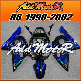 Wholesale yzf r6 fairings black gold - Addmotor 4colors Fairing For Yamaha YZF-R6 YZF R6 1998 1999 2000 2001 2002 98 99 00 01 02 Black Blue Gold Red Green Flame +5 Free Gifts