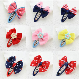Wholesale Handmade Christmas Hair Accessories - 9 color dot barrettes hair accessories for girls handmade bowknot hair clips accessories wholesale grosgrain with alligator clips