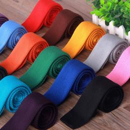 20 Renkler Moda Örme kravat Düz uç Katı Kravat Boyun Bağları Erkekler Kadınlar için Noel Hediyesi Bırak Nakliye nereden örme kravat tedarikçiler