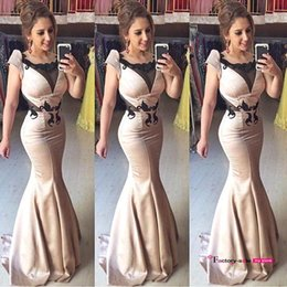 Wholesale Cotton Coral Dress - 2016 Arabic Vintage Evening Party Dresses Mermaid Cap Sleeves Satin Full Length Lace Appliques Prom Dresses Pageant Party Gowns BO8861