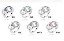 Wholesale Costume Jewelry Rings Wholesale - Wholesale Retro Fashion costume Jewelry Rings full colorful crystal rhinestone two double LOVE Heart