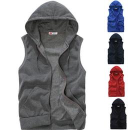 Wholesale Mens Hoodies Sport - New 2016 Mens Sleeveless Hoodies Fashion Casual Sports Sweatshirt Free Shipping 5 Colors Size M-XXL A36