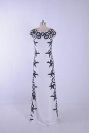Wholesale Grace Sheath - White and Black Evening Dresses Sexy Sheer Neck Chiffon Party Dresses Vestidos de festa Sweep train actural picture Grace Prom Gowns 2015