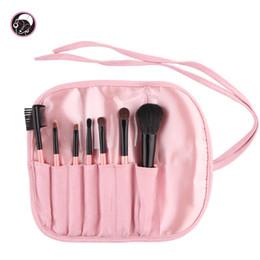 Комплект для кисти для путешествий онлайн-Wholesale-7 pcs  Brush Set Travel Cosmetic Brush Kit Lovely  Brushes With Brush Bag