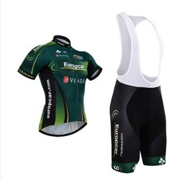 Wholesale Europcar Jersey Bib - Wholesale-New 2015 Europcar short sleeved cycling jersey and cycle bib shorts set strap riding a bicycle clothing best wear free shipping