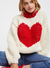 Wholesale Red Heart Lanterns - 2017 Fashion blogger red heart sweaters women round neck long sleeve knitted warm pullovers lantern sleeve jumpers