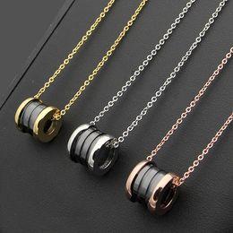 Wholesale Ceramic Slides - Silver Goldl spring Pendants necklace Titanium stesl White Black Ceramic circular ring pendant Necklace For Women Fashion Jewelry Party Gift