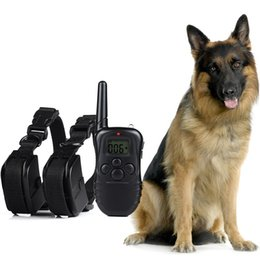 Wholesale Remote Shock Collars - 300 Meters Remote 100LV Electric Shock Anti-bark Vibra Pet Training Collar Control Trainer Aids With LCD Display For 2 Dogs