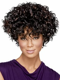 Wholesale Curly Kinky Hair Beautiful - African American Beautiful Wigs Synthetic Fiber Short Afro Kinky Curly Hair Wigs for Black Women Wigs with Free Shipping 0115