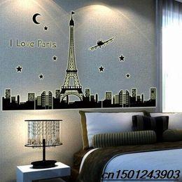Wholesale Eiffel Wall Decor - Paris Eiffel Tower Night Fluorescent Wall Sticker Mural Art Decal Home Decor wn