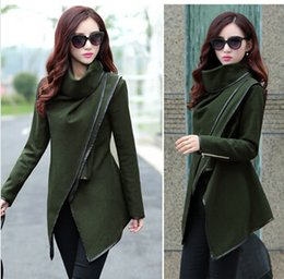 Wholesale 2016 Fall Winter Women Coat Mulheres Longo Cashmere Windbreaker Parka Outwear Loose Plus Size Trim Personality Asymmetric Rules Short Jacket
