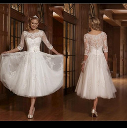 Wholesale Crystal Castles - A line White 2015 Short Wedding Dresses Scoop Lace Appliques Half Sleeve Custom Made Vintage Bridal Gowns Cheap Knee Length Wedding Dresses