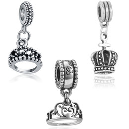 Wholesale Diy Princess Crowns - Wholesale Fashion Romantic Princess Crown Silver European Bead Charm For New DIY Women Snake Pandora Bracelet Pendants Bangle Jewelry D180S