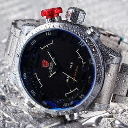 Wholesale Shark Luxury Watches - atches Dual Display Wristwatches Gulper SHARK Sport Watch Brand Mens Black Luxury Full Steel Band Digital Calendar Wristwatches Quartz Re...