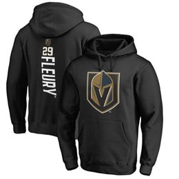 Wholesale Pink Hoodies Men - 2017 NHL Vegas Golden Knights 29 Marc-Andre Name & Number Midnight Mascot Pullover Hoodie for man women kid