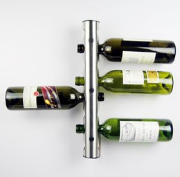 Wholesale Metal Shelfs - 50Pcs lot Partical Stainless Steel Bar Wine Rack Wine Shelf Wall Mounted Holder 8 Bottles T349