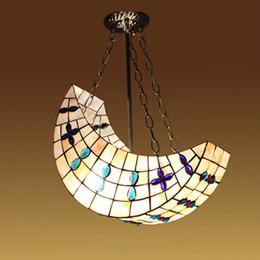 Lampes suspension en Ligne-16 pouces coquille lune bateau enfants chambre lumière pendante créative tiffany chambre bébé lumières pendants chambre suspension lampe