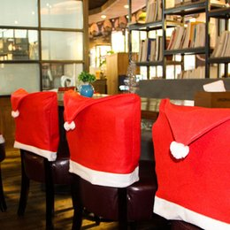 Wholesale Wholesale Party Supplies Tables Chairs - 2017 Hot Christmas Chair Covers Santa Clause Red Hat For Dinner Decor Home Decorations Ornaments Supplies Dinner Table Party Decor XL-347