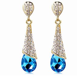 Wholesale Cheap Crystal Studs - 18K GOLD Plated Austrian Crystal Earrings Water Drop Shape Stud Earrings For Women Cheap Earrings Jewelry For Wedding A103