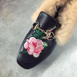 Wholesale Ladies Wedding Slipper Shoes - 2017 Women Fur Slides Ladies Mules Chiara Ferragni Furry Slippers Loafers Flats Women Chain Fur Half Slippers