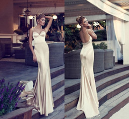 Wholesale One Shoulder Mermaid Chiffon - Glamorous Champagne Prom Dresses 2015 Mermaid Style Spaghetti Straps Backless Court Train Beads Elastic Satin Long Evening Gowns Nurit Hen