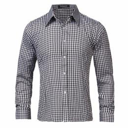 Wholesale Mens Autumn Plaid Shirt - Wholesale 2016 New Brand Spring Autumn Casual Long Sleeve Men Shirt High Quality Cotton Formal Business Plaid Mens Dress Shirts Plus Size